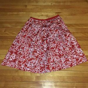 Liz Claiborne Pleated Skirt Red Flowers Sz 12